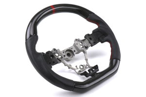 OLM Carbon Pro 12R Steering Wheel Leather / Carbon w/ Red Stripe - Subaru WRX / STI 2015 - 2020