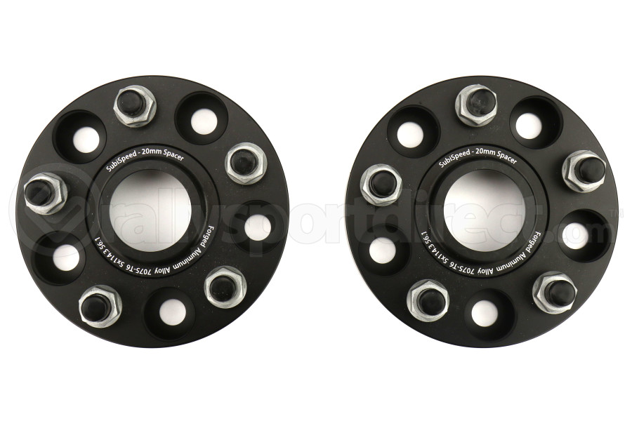 SubiSpeed Wheel Spacers 20mm 5x114.3 Black Pair (Part Number:SS-51143561-20)