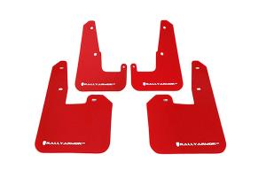 Rally Armor UR Mudflaps Red Urethane White Logo V2 ( Part Number: MF15-UR-RD/WH)