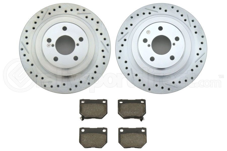 Stoptech C-Tek Sport Drilled and Slotted Rear Rotors / Pads Package - Subaru WRX 2006 - 2007