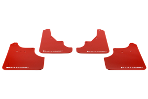 Rally Armor UR Mudflaps Red Urethane White Logo ( Part Number: MF11-UR-RD/WH)