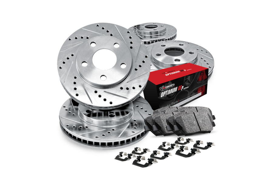 R1 Concepts Brake Package w/ Silver Drilled and Slotted Rotors, 5000 OEP Brake Pads and Hardware - Subaru Models (inc. 1999-2001 Impreza / 1998-2002 Forester)
