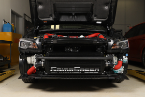 GrimmSpeed Front Mount Intercooler Kit Black Core w/ Red Piping - Subaru STI 2015 - 2020