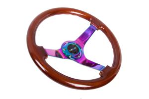 NRG Reinforced Classic Wood Grain Wheel 350mm 3in Deep Brown / Neochrome - Universal