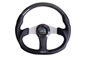 NRG Carbon Fiber Steering Wheel 350mm Oval Silver - Universal