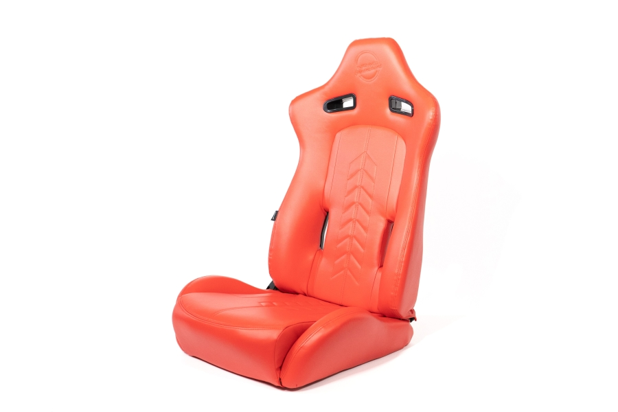 NRG Innovations The Arrow PVC Sports Seats Red w/ Red Stitching (Pair) - Universal