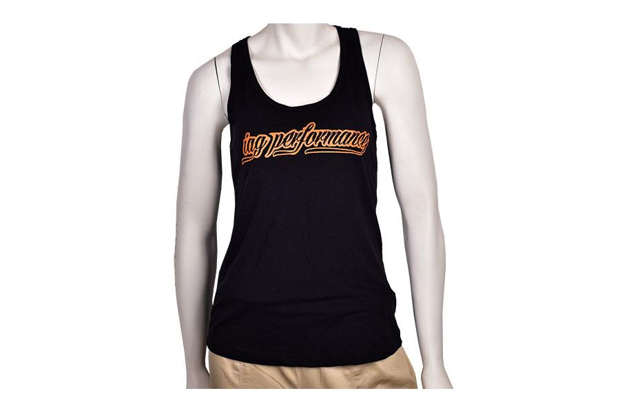 IAG Women's Black and Orange Script Tank Top - Universal