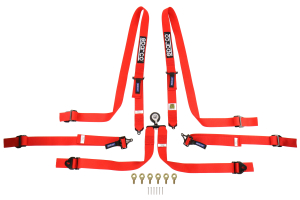 Sparco 6-Point Pull Up Harness Red - Universal