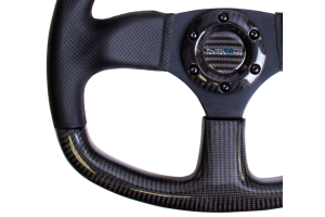 NRG Carbon Fiber Steering Wheel 320mm Flat Bottom Black w/Black Stitching - Universal