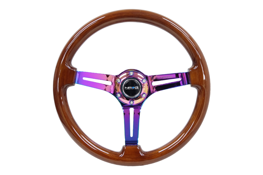 NRG Reinforced Classic Wood Grain Wheel 350mm Brown / Neochrome - Universal