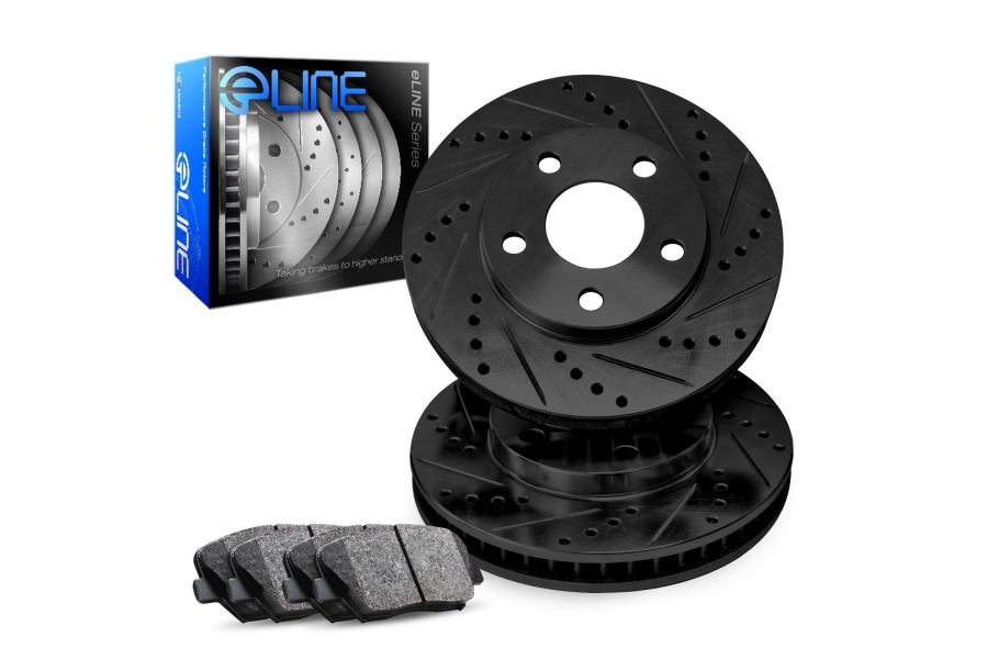 R1 Concepts E- Line Series Front Brakes w/ Black Drilled and Slotted Rotors and Ceramic Pads - Subaru Impreza 1993-1995