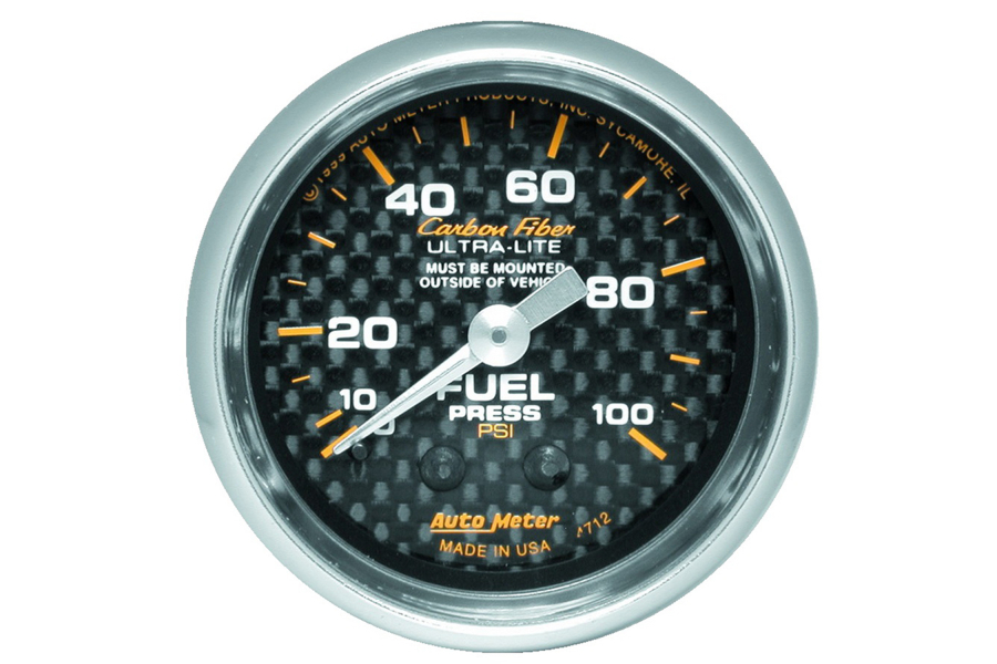 Autometer Carbon Fiber Fuel Pressure Gauge Mechanical 52mm - Universal