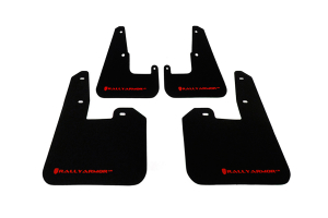 Rally Armor UR Mudflaps Black Urethane Red Logo V2 ( Part Number:RAL MF15-UR-BLK/RD)