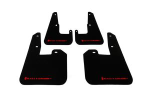 Rally Armor UR Mudflaps Black Urethane Red Logo V2 ( Part Number: MF15-UR-BLK/RD)