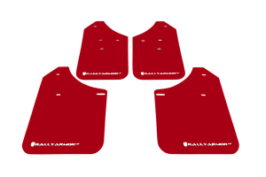 Rally Armor UR Mudflaps Red Urethane White Logo ( Part Number: MF1-UR-RD/WH)