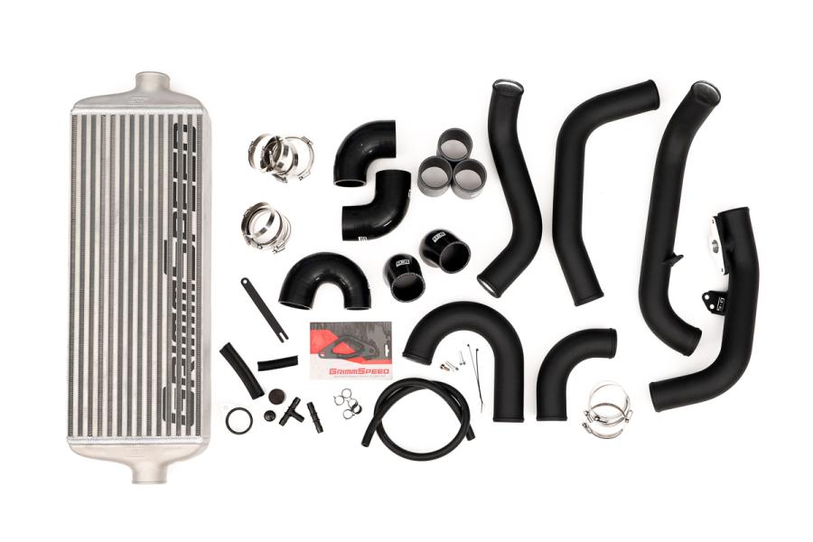 GrimmSpeed Front Mount Intercooler Kit Silver Core w/ Black Piping - Subaru STI 2015 - 2020