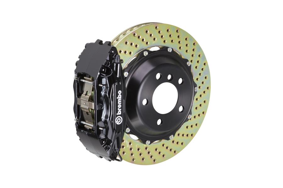 Brembo GT System 4 Piston Front Brake Kit Black Drilled Rotors - Volkswagen Models (inc. 2006-2014 GTI)