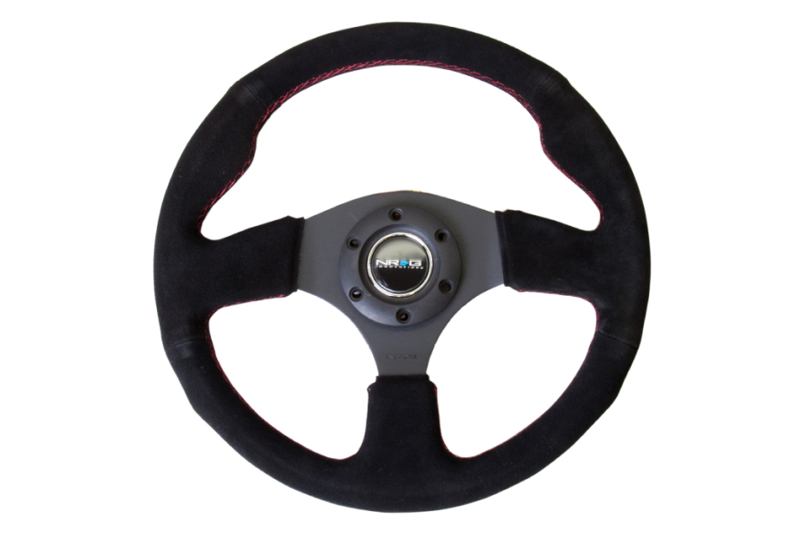 NRG Reinforced Steering Wheel 320mm Suede Black w/ Red Stitch - Universal
