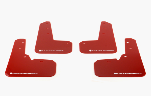 Rally Armor UR Mudflaps Red Urethane White Logo ( Part Number: MF26-UR-RD/WH)
