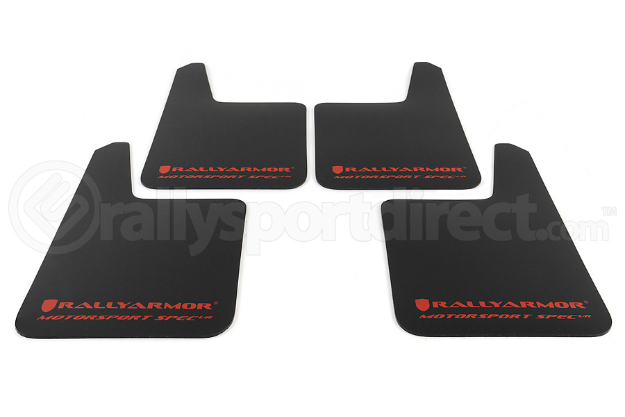 Rally Armor Universal MSpec Mudflap Black Urethane Red Logo (Part Number:MF20-MSUR-BK/RD)