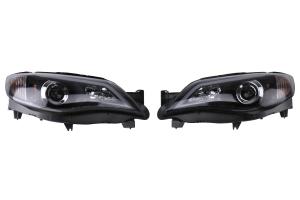 Spec-D Black Housing Projector Headlights With LED Day Time Running Light Strip  - Subaru WRX/STI 2008-2014