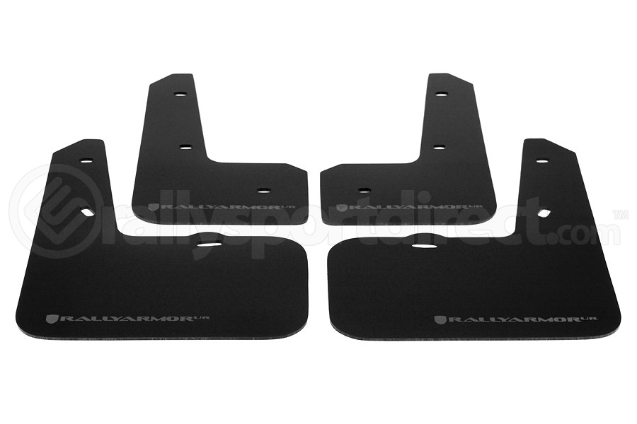 Rally Armor UR Mudflaps Black Urethane Silver Logo (Part Number:MF24-UR-BLK/SIL)