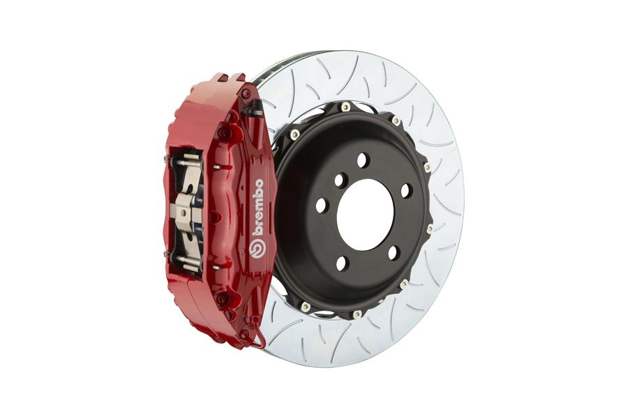 Brembo GT System 4 Piston Front Brake Kit Red Type 3 Slotted Rotors - Volkswagen Models (inc. 2015+ GTI)