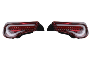 OLM VL Style Non-Sequential Clear Lens Red Base Tail Lights - Scion FR-S 2013-2016 / Subaru BRZ 2013+ / Toyota 86 2017+