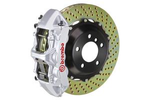 Brembo GT System 6 Piston Front Brake Kit Silver Drilled Rotors - Volkswagen Models (inc. 2006-2013 GTI)