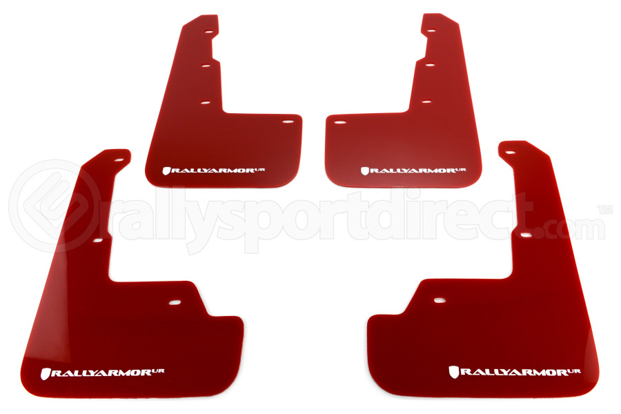 Rally Armor UR Mudflaps Red Urethane White Logo ( Part Number:RAL MF32-UR-RD/WH)