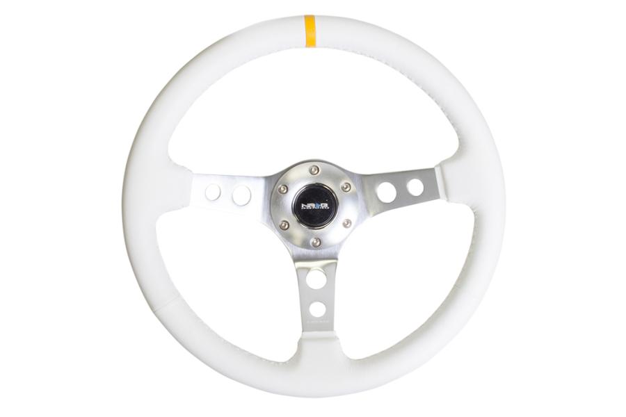 NRG Reinforced Steering Wheel 350mm 3in Deep Silver / White w/ Yellow Stripe - Universal