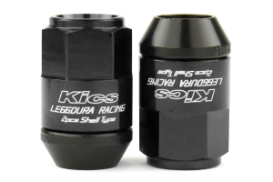 KICS Leggdura Racing Shell Type Lug Nut Set 35mm Closed-End Look 12X1.25 Black (Part Number: )
