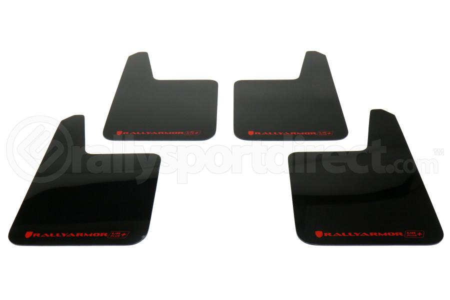 Rally Armor UR Plus Universal Mud Flaps Black Urethane Red Logo (Part Number:MF20-URP-BLK/RD)