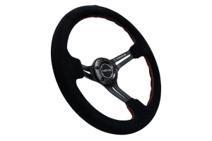 NRG Reinforced Steering Wheel 350mm Suede 3in Deep Black Slotted w/ Red Stitch - Universal