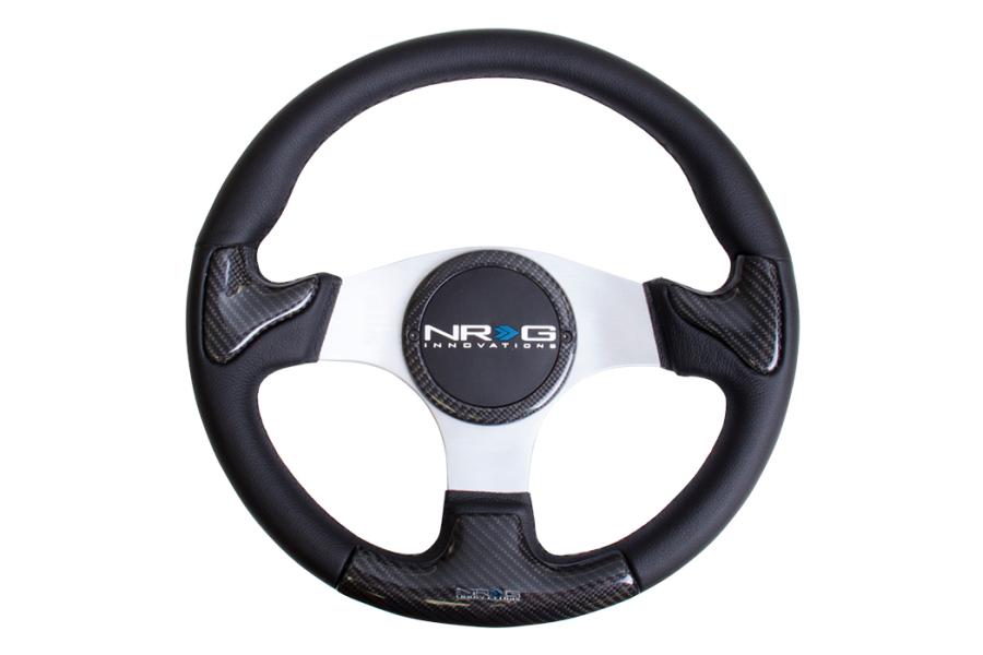 NRG Carbon Fiber Steering Wheel 350mm Silver Rubber Horn - Universal