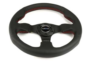 NRG Reinforced Steering Wheel 320mm Black w/ Red Stitch - Universal
