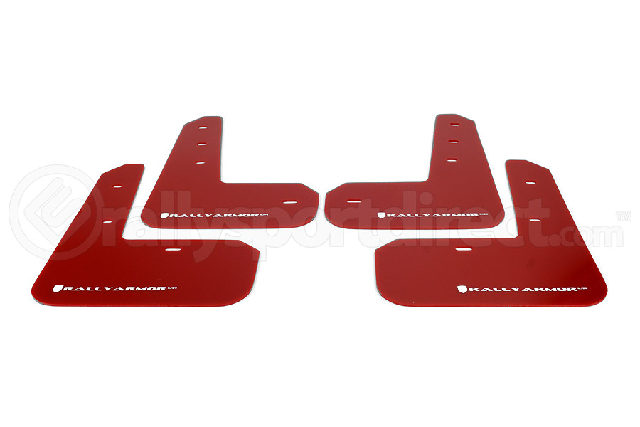 Rally Armor UR Mudflaps Red Urethane White Logo ( Part Number:RAL MF23-UR-RD/WH)