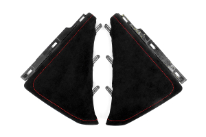 JPM Coachworks Knee Pads Black Alcantara Red Stitching ( Part Number: 1106A40-R)