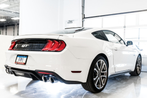 AWE Tuning Track Edition Cat Back Exhaust Silver Tips - Ford Mustang GT 2018+
