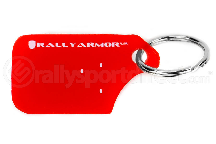 Rally Armor Red UR Mudflap Keychain (Part Number:RA-KYCHN-RD/WH)