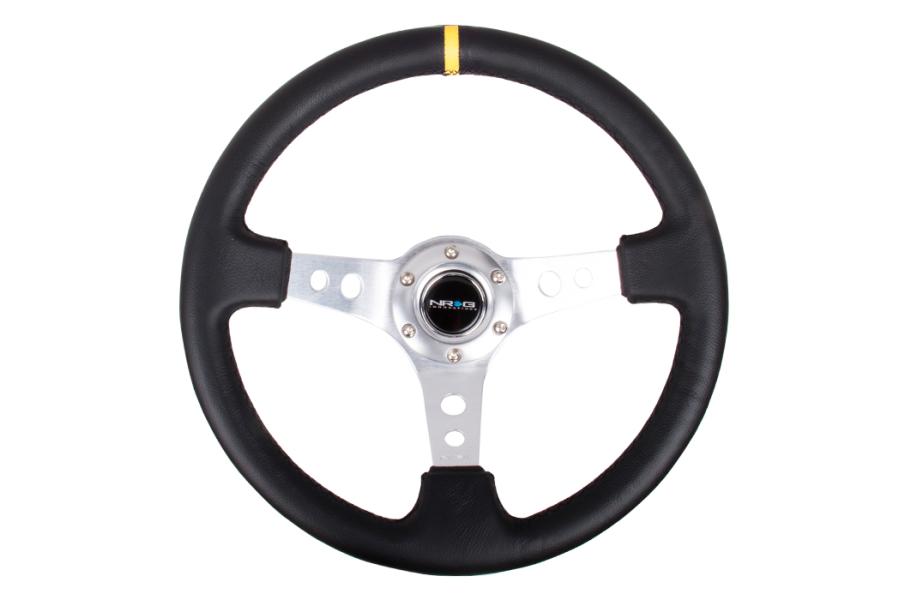 NRG Reinforced Steering Wheel 350mm 3in Deep Silver w/ Yellow Stripe - Universal