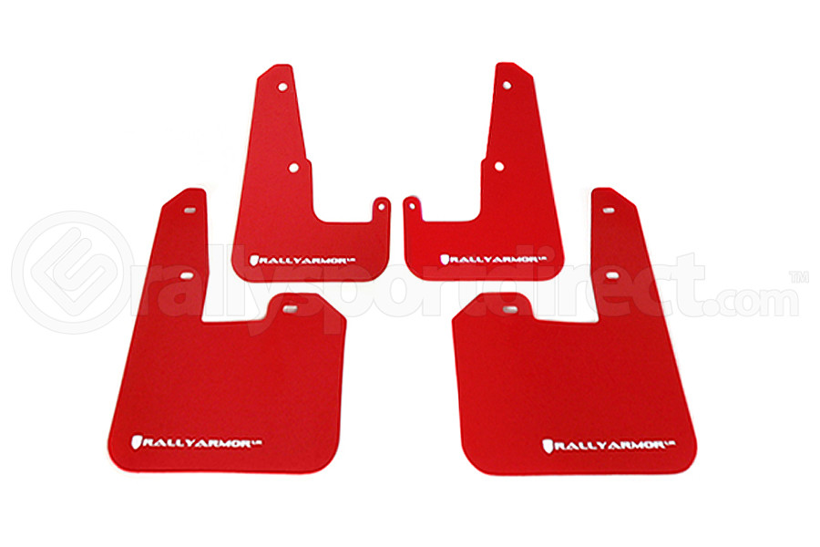 Rally Armor UR Mudflaps Red Urethane White Logo V2 (Part Number:MF15-UR-RD/WH)