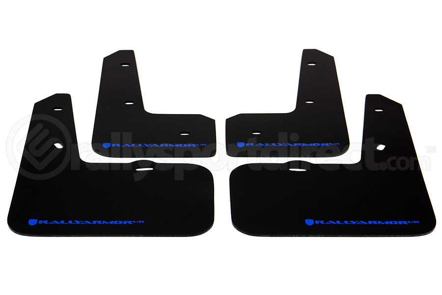 Rally Armor UR Mudflaps Black Urethane Blue Logo ( Part Number:RAL MF24-UR-BLK/BL)