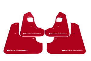 Rally Armor UR Mudflaps Red Urethane White Logo ( Part Number:RAL MF10-UR-RD/WH)