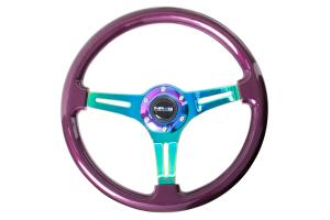 NRG Classic Wood Grain Wheel 350mm Neochrome / Purple Pearl - Universal