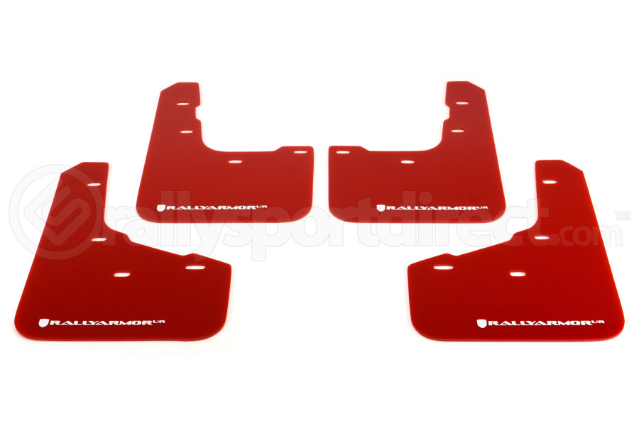 Rally Armor UR Mudflaps Red Urethane White Logo (Part Number:MF29-UR-RD/WH)