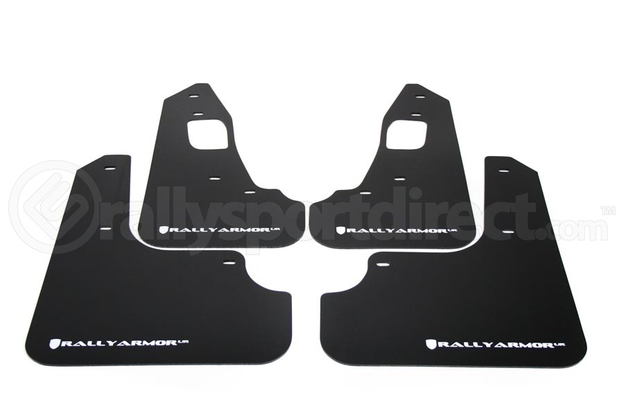Rally Armor UR Mudflaps Black Urethane White Logo (Part Number:MF10-UR-BLK/WH)