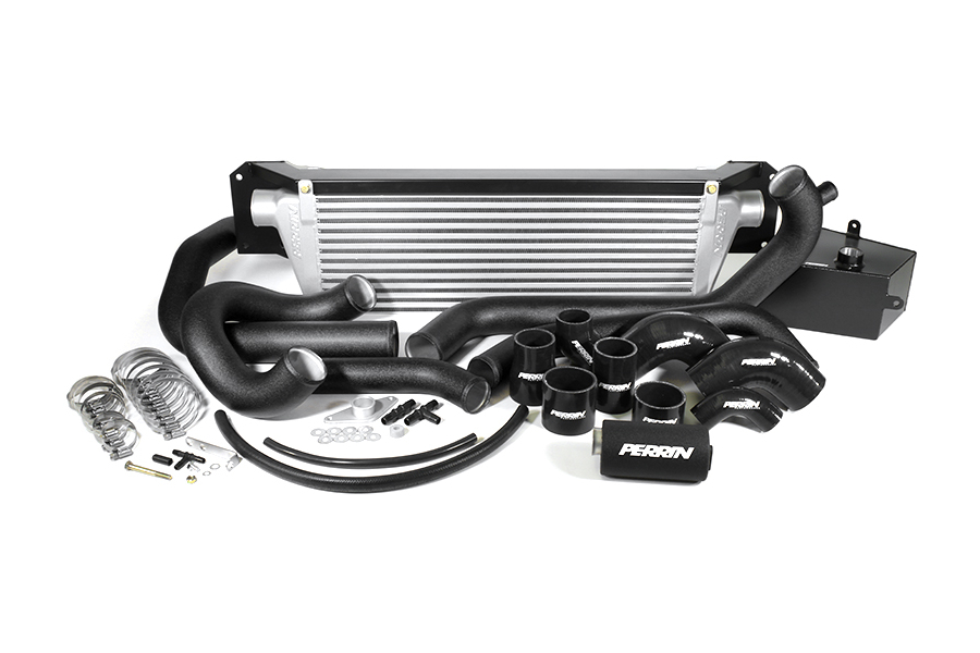 PERRIN Front Mount Intercooler Kit Black Piping/Silver Core (Part Number:PSP-IP-438-SBB)