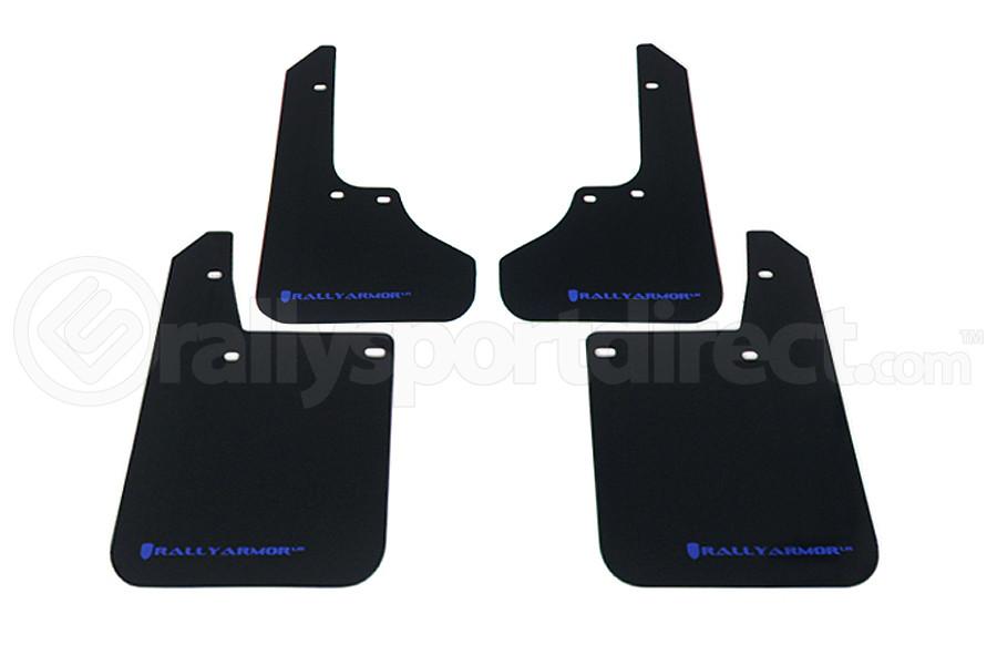 Rally Armor UR Mudflaps Black Urethane Blue Logo ( Part Number:RAL MF2-UR-BLK/BL)