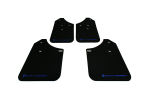 Rally Armor UR Mudflaps Black Urethane Blue Logo ( Part Number: MF1-UR-BLK/BL)